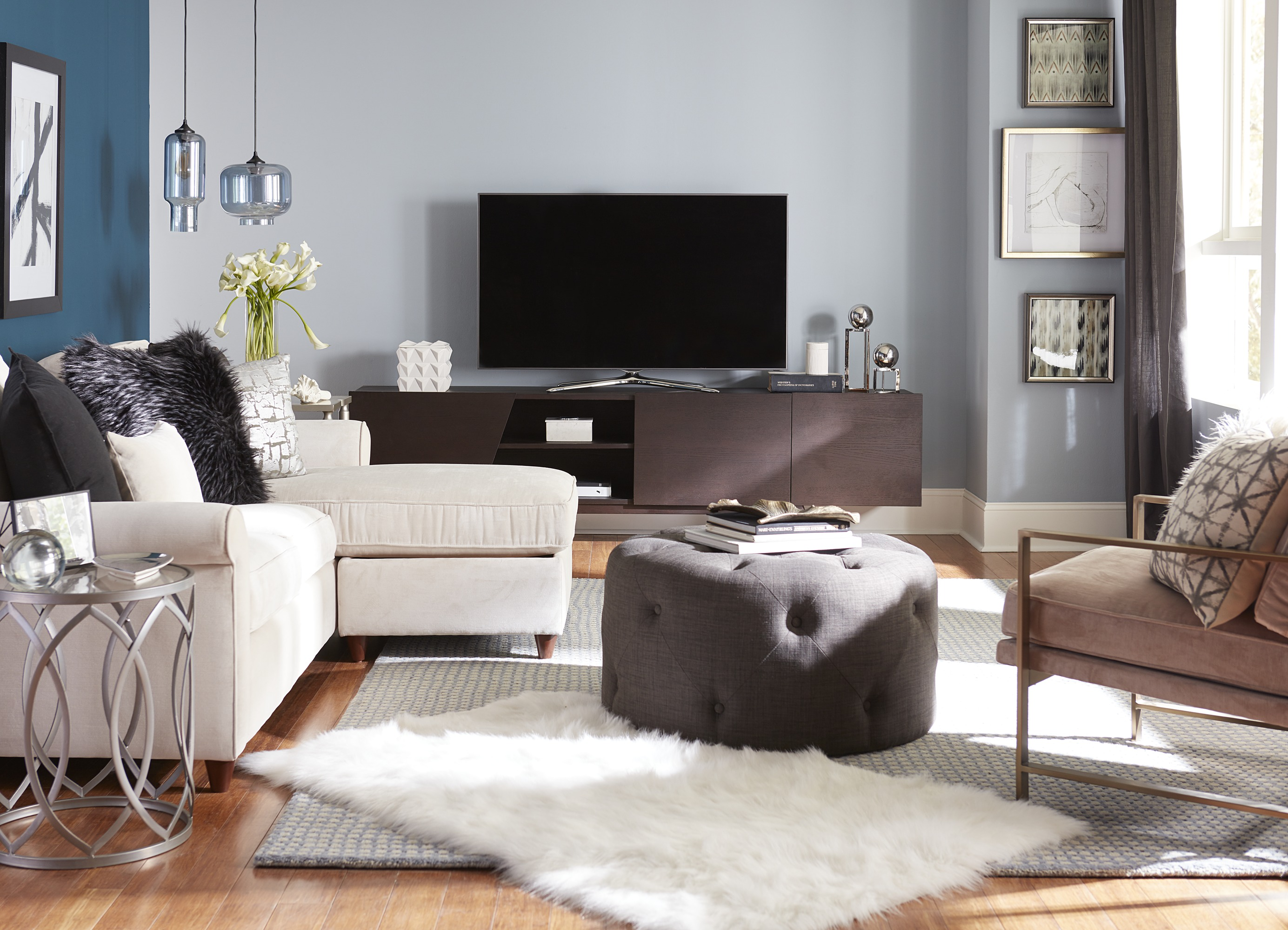 TV Mount or Entertainment Center - TV on Media Furniture
